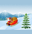 cartoon santa clause and a reindeer riding on a sl vector image vector image