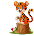 cartoon tiger sitting on tree stump vector image vector image