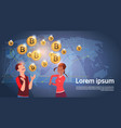 cheerful people over world map golden bitcoin vector image