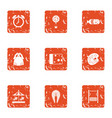 child hobby icons set grunge style vector image vector image