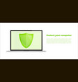 computer with security shield notebook security vector image vector image