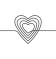 continuous line drawing heart black and white vector image