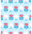 cute floral pattern with a hare on a blue vector image vector image