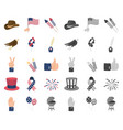 day of patriot holiday cartoonmono icons in set vector image vector image