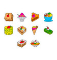 desserts icon set vector image vector image