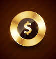 doller golden coin design with shiny effects vector image vector image