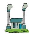 drawn industrial factory buiding pollution symbol vector image