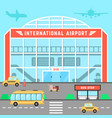 facade airport with bus stop vector image