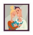 family portrait mother and father holding baby vector image