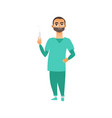 flat young male doctor with syringe vector image vector image