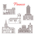 france travel landmarks line art icons vector image vector image