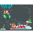 Funny Color Christmas background with a toy train vector image vector image