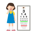 girl with eye chart test diagnostic vector image