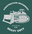 Grunge Bulldozer T-shirt design vector image