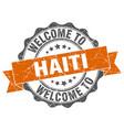 haiti round ribbon seal vector image vector image