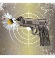 Handgun Beretta Elite with camomile vector image vector image