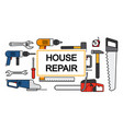 house repair banner design with line tools vector image