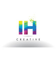 ih i h colorful letter origami triangles design vector image vector image