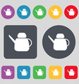 Kettle Icon sign A set of 12 colored buttons Flat vector image