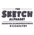 Latin alphabet bold font in cute sketch texture