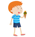 Little boy eating ice cream vector image vector image