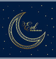 lovely golden decorative eid moon and stars vector image