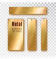 metal gold vertical banners set realistic vector image vector image