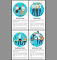 office team work on business idea promo posters vector image vector image
