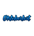 oktoberfest lettering blue color design with an vector image