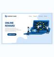 online reward concept with a woman get a bonus vector image vector image