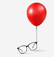 optical glasses attached to red balloon black vector image vector image