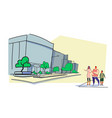 parents and son walking together outdoor modern vector image