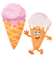 pink ice cream in a horn and a cheerful character vector image vector image