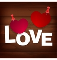 pinned heart on wood vector image