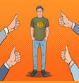 pop art man wearing in t-shirt with bitcoin print vector image vector image