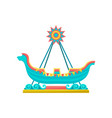 riding ship attraction amusement park element vector image