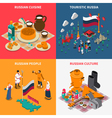 Russian Isometric Touristic 2x2 Icons Set vector image vector image