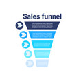 sales funnel with steps stages business vector image vector image
