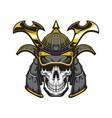 samurai skull with japanese warrior helmet vector image