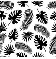 seamless pattern with black silhouettes leaves vector image vector image