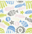 seamless pattern with cute subject sea and ocean vector image