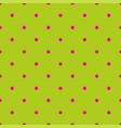 seamless pattern with pink polka dots on a green vector image