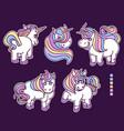 set colored cute unicornssketch unicorn vector image vector image