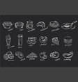 set hand drawn food and drinks on black vector image vector image