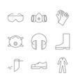 set of safety equipment icons vector image vector image