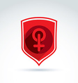 Shield with a red female sign woman gender symbol vector image vector image
