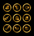 shine gold festive icons of collection vector image
