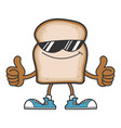 slice bread cartoon character with sunglasses vector image