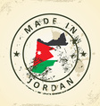 Stamp with map flag of Jordan vector image