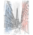 street paris and eiffel tower vector image